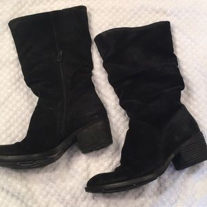 Born black suede boots
